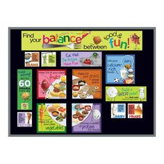 """Includes two 5-1/2"""" x 17"""" title header pieces and information cards in various dimensions. Sized for a 3' x 4' bulletin board. Can be easily adapted to fit any size board. Bulletin board not included. Help kids find their balance between food and fun with the Kids MyPlate Bulletin Board Kit! This fun and informative nutrition bulletin board kit features healthy food characters engaged in physical activity. Based on USDA's MyPlate model, this bulletin board is perfect for preschool and primary gr Spring Bulletin Boards, Preschool Bulletin Boards, Nutrition Bulletin Boards, Teacher Breakfast, Fruit Plate, Finding Yourself, Make It Yourself, Healthy Kids, Healthy Food"""