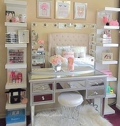 perfect make-up setup for your bedroom, the mirrored dressing table is devine