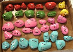 """Prayer rocks for Kids. David's sister made prayer rocks for the kids, but wrote a different prayer subject on each one, such as """"happy"""" """"fear"""" """"Mom"""" """"Dad."""" She also put them on a cute little shelf to be hung on the wall. The kids love them! Vbs Crafts, Church Crafts, Bible Crafts, Rock Crafts, Preschool Crafts, Crafts For Kids, Prayer Crafts, Sunday School Lessons, Sunday School Crafts"""