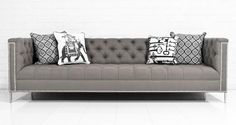 Hollywood Sofa in Textured Grey Linen by ModShop
