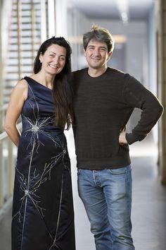 Neuron Nobel Gown vianbcnews: Norwegian neuroscientist May-Britt Moser wore her work, in the form of an elegant dress with a glittering neuron pattern. #Dress #Neuron_Gown #Nobel_Prize