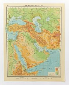 Vintage South Western Asia map, 1948, £6