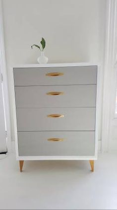 Sold Mid Century Dresser, Vintage Dresser Painted Gray,white And Gold,  Tallboy, Painted Furniture Nj
