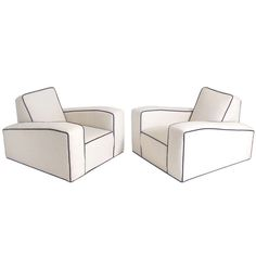 Pair of Low Slung French Art Deco Lounge Chairs | From a unique collection of antique and modern lounge chairs at https://www.1stdibs.com/furniture/seating/lounge-chairs/