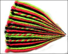 Dread extensions - UV Black, Neon yellow and pink single ended dreads/dreadlocks - set of 20