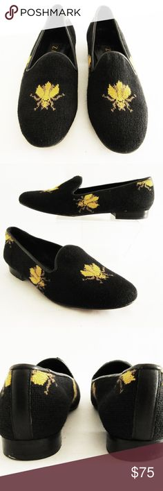 "ZALO Size 7N Bumblebee Embroidered Needlepoint ZALO ""Bumblebee"" Flats/Loafers Embroidered Leather soles Size 7N Excellent, pre-owned condition Zalo Shoes Flats & Loafers"
