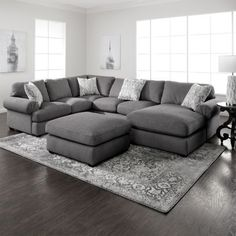 Simple yet stylish, the Jameson grey sectional is an excellent choice for your living room. The casual sectional offers generous and comfortable seating with pocketed springs, Jerome's-gel Living Room Sectional, Living Room Grey, Home Living Room, Living Room Designs, Living Room Decor, Grey Living Room Furniture, Sectional Sofa With Chaise, Sectional Furniture, Dining Room