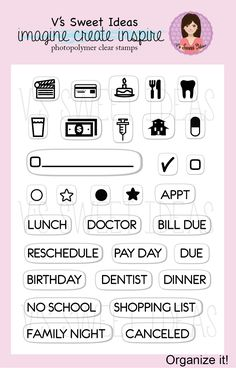 This is the perfect set for planner addicts of all types of planners.  Organize and plan everyday life with this mini set. Take it with you wherever you go with your fave inks.  Size: 3x4 stamp set  Set of 31 stamps  Icons measure approx .25in - .30in tall Words measure approx .20in tall  Ou...