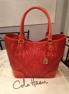 Cole Haan Genevieve Like New! Woven Leather Serena Weave Satchel Hobo Handbag Spicy Orange / Red Orange Brown / Golden Brown Tote Bag. Get one of the hottest styles of the season! The Cole Haan Genevieve Like New! Woven Leather Serena Weave Satchel Hobo Handbag Spicy Orange / Red Orange Brown / Golden Brown Tote Bag is a top 10 member favorite on Tradesy. Save on yours before they're sold out! GORGEOUS!!! BEAUTIFUL COLOR!!! MINT/ LIKE NEW CONDITION!!! SALE!!! WOW!!!
