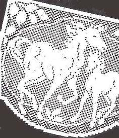 Vintage Filet Crochet Horses Chair Set Pattern Reprint | hollywoodpatterns - Needlecraft on ArtFire