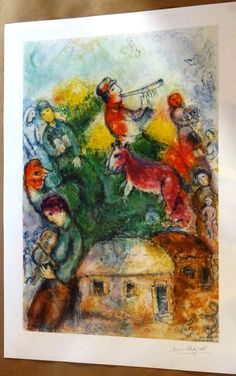 Marc Chagall lithograph judaica shofar  by MarieArtCollection