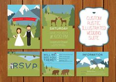 Custom Rustic Illustrated Mountain Wedding by BisforBrown on Etsy, $55.00