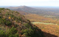 Pilot Mountain way off in the distance, Hanging Rock State Park.