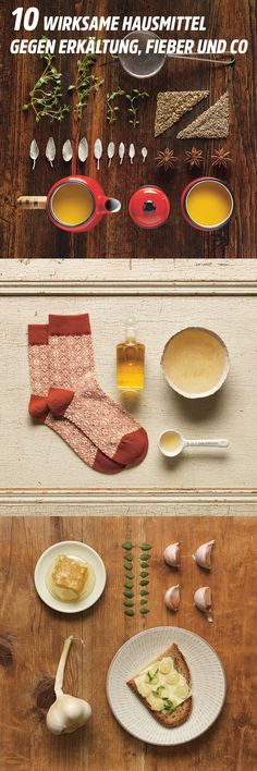Anis-Fenchel-Salbei-Tee, Essigsocken, Kamille-Salz-Inhalation und weitere Hausmittel