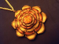 Floral Necklace Shades of copper and gold color by julishland, $14.00