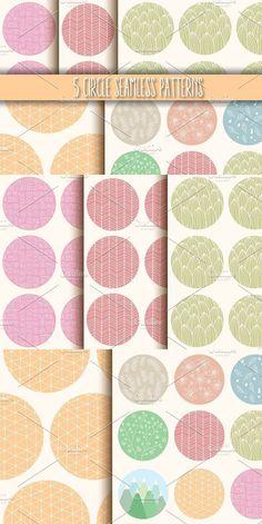 5 Circle Seamless Patterns. Patterns. $5.00