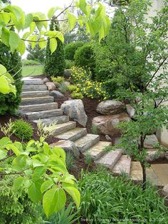 Chilton Natural Stone Steps, Borgert Products Strassen® Bavaria II Paver Landing & Aqua Grantique Natural Stone Retaining Wall Block Raised Planters by Switzer's Nursery & Landscaping, via Flickr