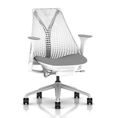 Herman Miller Sayl Task Chair: Tilt Limiter with Seat Angle Adjustment - Adj Seat Depth - Fully Adj Arms - Standard Carpet Casters - Fog Base/Studio White Frame