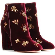 Aquazzura Fauna 105 Embellished Velvet Ankle Boots ($1,225) ❤ liked on Polyvore featuring shoes, boots, ankle booties, red, aquazzura, velvet boots, embellished boots, red booties and red bootie
