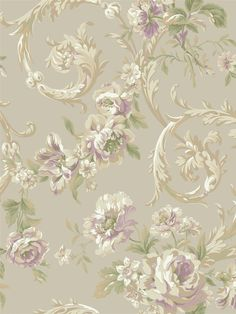 Lavender Rococo Floral Wallpaper | IRIDESCENT | AmericanBlinds.com