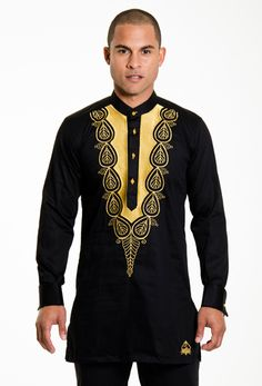 Blue And Gold Embroidery African Dashiki suit African Nigerian Men Fashion, African Print Fashion, Africa Fashion, Ankara Fashion, Dashiki For Men, African Dashiki, African Prom Dresses, African Dress, African Style