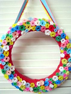 Birthday candle holder wreath! Fun and colorful!!! :-)
