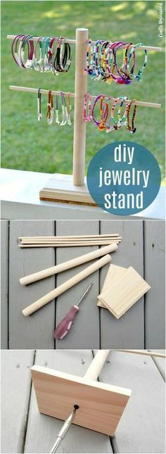 jewelry Stand DIY - Jewelry Display DIY Stand Step by Step Consumer Crafts. Craft Fair Displays, Craft Booths, Bracelet Displays For Craft Shows, Jewellery Storage, Jewellery Display, Diy Jewellery, Jewellery Stand, Jewelry Hanger, Jewelry Case