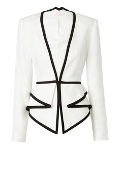 TWO DIMENSIONS - fitted tailored jacket with folded peplum detail from waist. features contrast bound edges & discreet hidden front closure.
