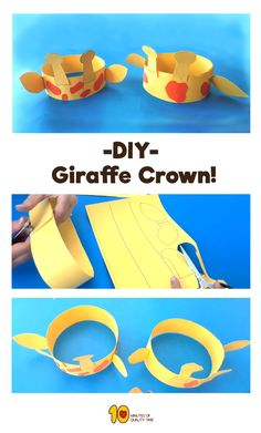 DIY Giraffe crown - Animal crafts Related Posts Balloon Straw Rocket for Kids The Impossible Paper Trick Kangaroo Activity for Kids Building Blocks Science Experiment Sleeping Bear Animation Game for Kids Paper Napkin Rings Jungle Crafts, Giraffe Crafts, Giraffe Decor, Animal Crafts For Kids, Safari Animal Crafts, Unicorn Crafts, Easy Crafts For Kids, Toddler Crafts, Preschool Activities