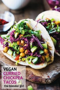 This curried chickpea tacos from Easy Vegan Breakfasts & Lunches are super easy and delicious.