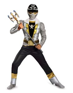 Silver Power Ranger Muscle Jumpsuit Child Costume at Spirit Halloween - Power up your Halloween with the officially licensed Power Rangers Silver Power Ranger Muscle Jumpsuit Child Costume. This silver, black and gold jumpsuit features muscle torso and arms along with character details, complete with a belt, buckle and character mask. Make this costume yours for $29.99