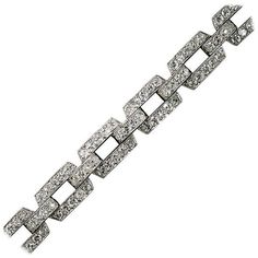 Preowned Art Deco Diamond Platinum Link Bracelet ($12,950) ❤ liked on Polyvore featuring jewelry, bracelets, multiple, diamond jewelry, antique diamond bracelet, antique bracelet, antique jewelry and antique art deco jewelry