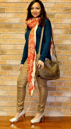 """Gold """"Flying Monkey"""" Skinnies with Teal Cashmere-Blend Sweater ~ Orange Lace Patterned Scarf and Bronze Studded Messenger Bag ~ Apricot Lane Boutique South Florida"""