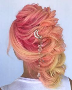 Cool Pastel Hair Colors in Every Shade of Rainbow - Hair Style Peach Hair Colors, Pink Hair, Pastel Hair Colors, Pastel Rainbow Hair, Neon Hair, Violet Hair, Colourful Hair, Colorful, Pelo Multicolor