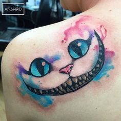 """We are all mad in here #alice#aliceinwonderland#chesirecat#cat#watercolortattoo…"
