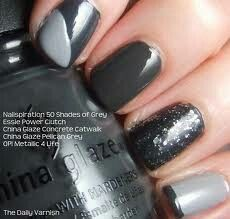 50 Shades of Grey nail using Essie, China Glaze and Opi.. Found this online.. Love love