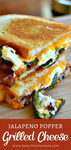 Jalapeno Popper Grilled Cheese is the ultimate comfort food perfect for dinner on a cold winter night! This sandwich recipe has a delectable combination of baked cream cheese filled jalapenos, gooey cheddar, Monterey Jack cheese, and crispy bacon. Save th I Love Food, Good Food, Yummy Food, Healthy Food, Tasty, Gourmet Sandwiches, Grilled Cheese Sandwiches, Sandwiches For Dinner, Grilled Cheeses