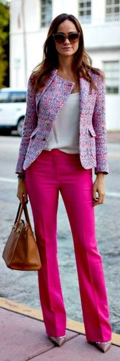 Printed blazer + white top + pink slacks, minus the shoes. Nude shoes will compliment the whole outfit