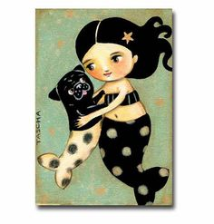 """Acquire great tips on """"black pugs"""". They are offered for you on our internet site. Fantasy Mermaids, Mermaids And Mermen, Real Mermaids, Art Vampire, Vampire Knight, Amor Pug, Pug Cartoon, Black Pug Puppies, Frida Art"""