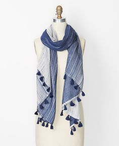 Image of Variegated Pinstripe Scarf Outerwear Women, Plaid Scarf, Ann Taylor, Scarves, Tie Dye, Clothes For Women, My Style, Womens Fashion, Casual
