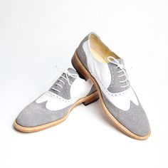 grey and white oxford brogue shoes FREE WORLDWIDE by goodbyefolk, $210.00