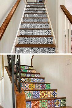 Décoration des escaliers avec du carrelage adhésif carreaux de ciment    http://www.homelisty.com/carrelage-adhesif-carreaux-ciment/