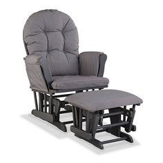 Stork Craft Hoop Custom Glider Chair and Ottoman Set, Grey