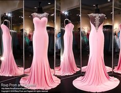 Pink Jersey Formfitting Evening Gown-High Beaded Illusion Neckline and Back-116XCT0306390 at Rsvp Prom and Pageant, your source for the HOTTEST Prom and Pageant Dresses!