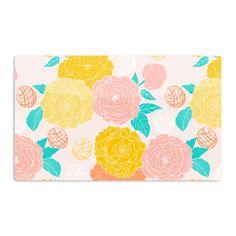 "Anneline Sophia ""Peonies Peach"" Yellow Pink Aluminum Magnet"