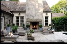 Exterior Design: Outdoor Fireplaces In Farmhouse Patio With Beige Exterior Also Beige Siding And Brown Outdoor Cushions Also Concrete Fireplace And Outdoor Lighting Plus Outdoor Potted Plant And Stone Exterior Also Wood Patio Furniture Outdoor Areas, Outdoor Rooms, Outdoor Living, Outdoor Decor, Outdoor Stone, Rustic Outdoor, Outdoor Pallet, Outdoor Photos, Outdoor Parties