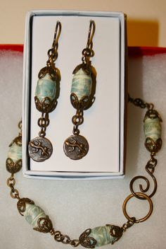 Earrings & bracelet, handmade paper beads and Vintaj brass