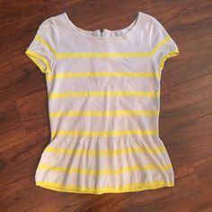 LOFT Peplum Spring Sweater Beige & yellow striped peplum top from LOFT. Lightweight sweater material. Exposed zipper in back. Size small. LOFT Tops Blouses