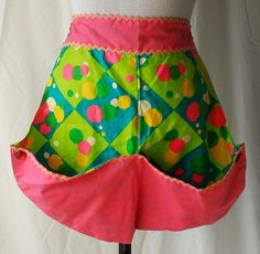 Women's 1960s Green/Blue Abstract Pattern Apron With Pink Button-Up converts to Bonnet or Bag