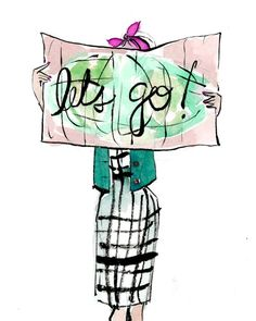 Travel art print: let's go! map girl let's go, travel drawing, croquis Illustration Mode, Travel Illustration, Illustrations, Art Visage, Travel Wallpaper, Wallpaper Art, Travel Drawing, Letting Go, Travel Inspiration